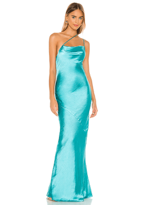 Lovers + Friends Luca Gown in Teal. Size S, M, L, XL.