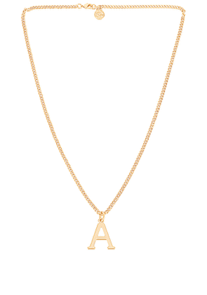 Cloverpost Serif Necklace in Metallic Gold. Size B, D, F, H, J, K, O, S, V.