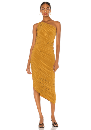 Norma Kamali Diana Gown in Brown. Size XXS, S, M, L.