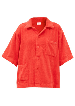 Terry - Boxy Cotton Terry-toweling Shirt - Womens - Red