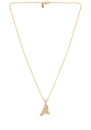 Vanessa Mooney The Baby Doll Initial Necklace in Metallic Gold. Size I.