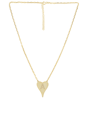 Adina's Jewels Initial Heart Link Necklace in Metallic Gold. Size A, B, D, E, F, G, H, I, M, N, O, P, S, T, V.