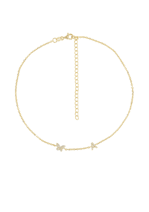 Adina's Jewels Pave Butterfly Initial Choker in Metallic Gold. Size D, I, P.
