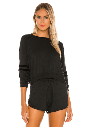 LVHR Sabina Crop Raglan Top in Black. Size S, L.