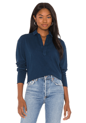 Frank & Eileen Popover Top in Blue. Size L, M, S.