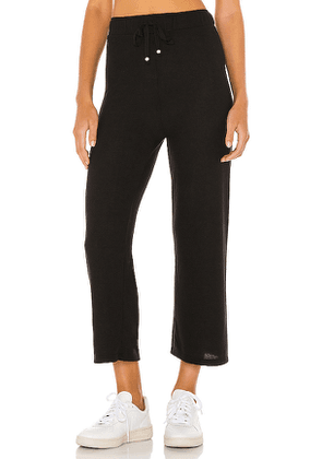 DONNI. Sweater Cropped Flare Pant in Black. Size XS, L.