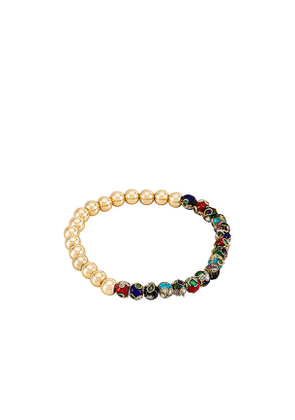 BaubleBar Floral & Gold Bead Pisa Bracelet in Metallic Gold.