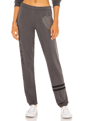Lauren Moshi Brynn World Needs Love Pant in Grey. Size XS, M, L.