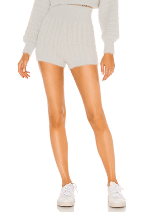 MAJORELLE Leighton Cable Shorts in Grey. Size XXS, S, M, L, XL.
