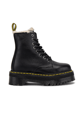 Dr. Martens Jadon Faux Fur Lined Quad Boot in Black. Size 10.