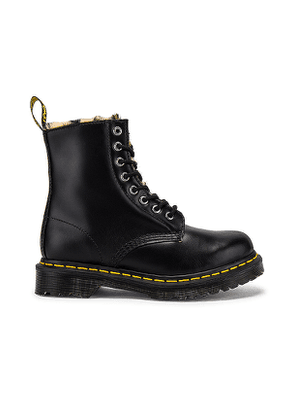 Dr. Martens 1460 Serena Leopard Faux Fur Lined Boot in Black. Size 7, 8, 9, 10.