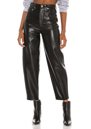AGOLDE Recycled Leather Balloon Taper in Black. Size 24, 25, 26, 27, 28, 29.