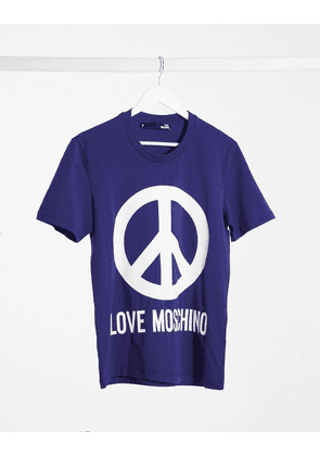 Love Moschino logo print t-shirt-Blue
