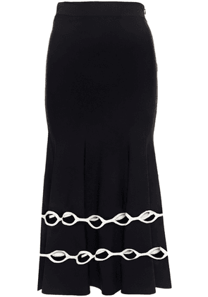 Alexander Mcqueen Fluted Cutout Stretch-knit Midi Skirt Woman Black Size M