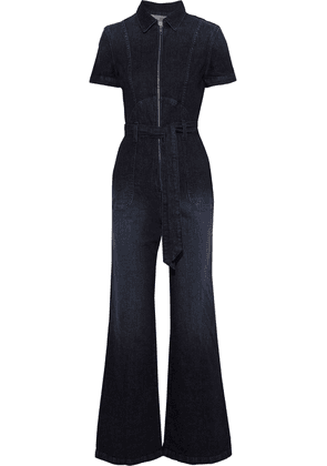 Alice + Olivia Belted Denim Jumpsuit Woman Charcoal Size 26