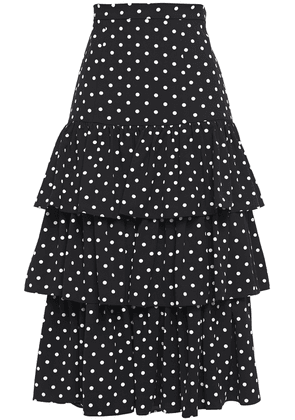 Cinq À Sept Tiered Polka-dot Crepe Midi Skirt Woman Black Size 4