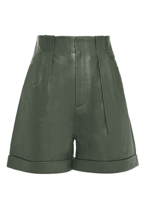 Equipment Pleated Textured-leather Shorts Woman Forest green Size 8