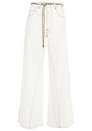 Ganni Belted High-rise Wide-leg Pants Woman White Size 30