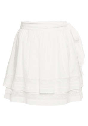 Joie Tiered Lace-trimmed Fil Coupé Cotton Mini Skirt Woman Ivory Size 4