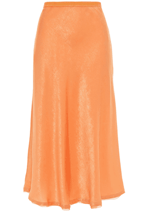 Jonathan Simkhai Frayed Crinkled-satin Midi Skirt Woman Pastel orange Size 4