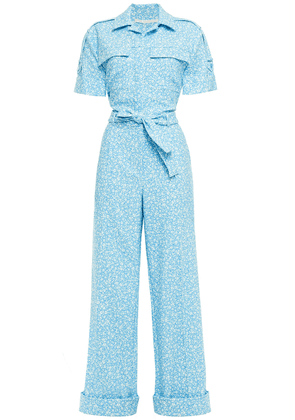 Jonathan Simkhai Belted Floral-print Stretch-crepe Jumpsuit Woman Blue Size 6
