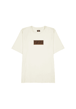 Fendi Cream Logo-appliquéd Cotton T-shirt