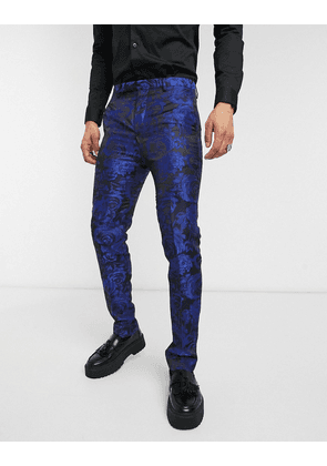 Twisted Tailor suit trousers with jaquard floral print in navy