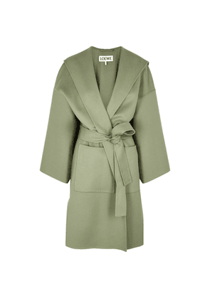 Loewe Sage Hooded Wool And Cashmere-blend Coat