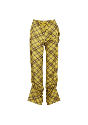 Dries Van Noten Humer Checked Ruched Cotton Trousers