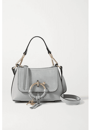 See By Chloé - Joan Mini Suede-trimmed Textured-leather Shoulder Bag - Light gray