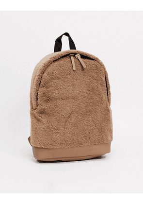 ASOS DESIGN backpack in camel borg with faux leather base-Tan