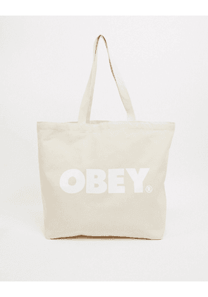 Obey bold logo tote bag in white