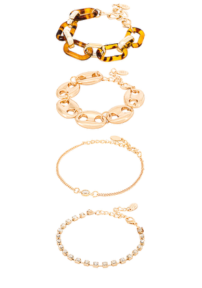 8 Other Reasons Nadia Bracelet Set in Metallic Gold.