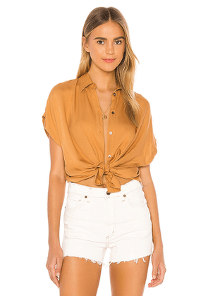 Indah Eliza Solid Button Up Short Sleeve Shirt in Tan. Size XS, S.