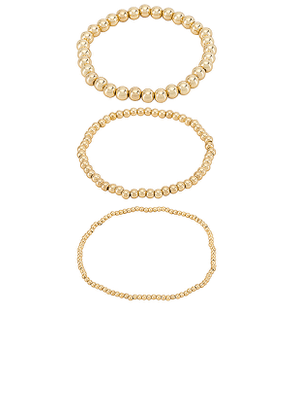 BaubleBar Pisa Bracelet Set of 3 in Metallic Gold.