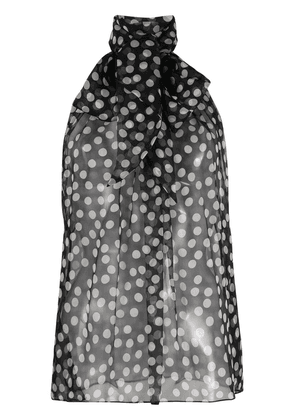 Saint Laurent sleeveless polka dot print blouse - Black