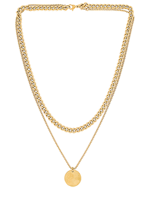 Ellie Vail Blair Double Chain Necklace in Metallic Gold.