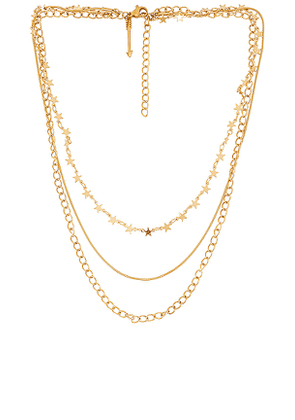 Ellie Vail Mabel Star Multi Layer Chain Necklace in Metallic Gold.