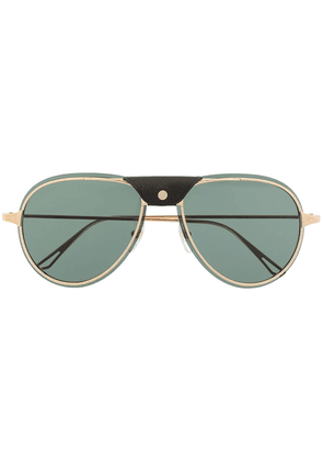 Cartier Eyewear leather-trim aviator sunglasses - GOLD