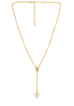 Natalie B Jewelry Lucia Rosary Lariat Necklace in Metallic Gold.