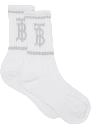 Burberry monogram intarsia-knit socks - White