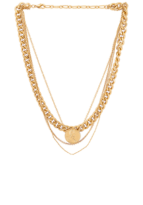 Amber Sceats Layered Coin Necklace in Metallic Gold.