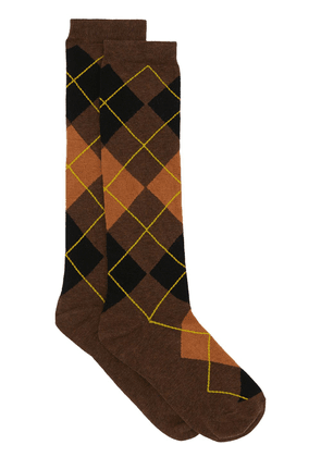 Burberry monogram-embroidered argyle socks - Brown