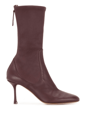 Francesco Russo calf-length leather boots - Red