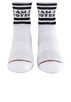 MOTHER X I Am A Voter Socks in White.