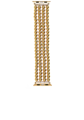 BaubleBar Beaded Apple Watch Band in Metallic Gold.