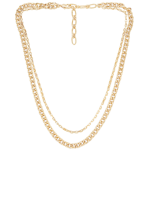 Amber Sceats Layered Chain Necklace in Metallic Gold.