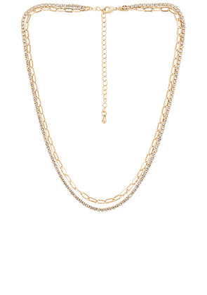 EIGHT by GJENMI JEWELRY Perfect Choker Crystal Detail Necklace in Metallic Gold.