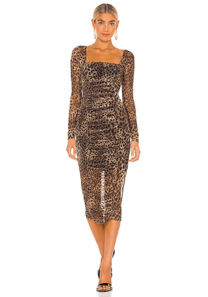 JONATHAN SIMKHAI STANDARD Kai Ruched Dress in Brown. Size S.