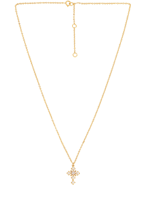 The M Jewelers NY Pearl Cross Necklace in Metallic Gold.